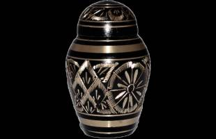 Black Engraved Keepsake Urn