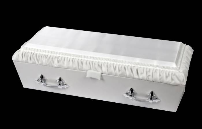 White Pleated Infant Casket Funeral Supplies Clarke