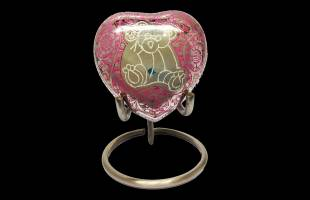 Pink Bear Heart Keepsake Urn with or without Stand